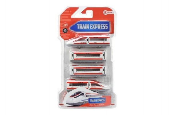 Teddies Vlak s vagónmi na magnetmi 4ks 48cm plast asst 2 farby na karte