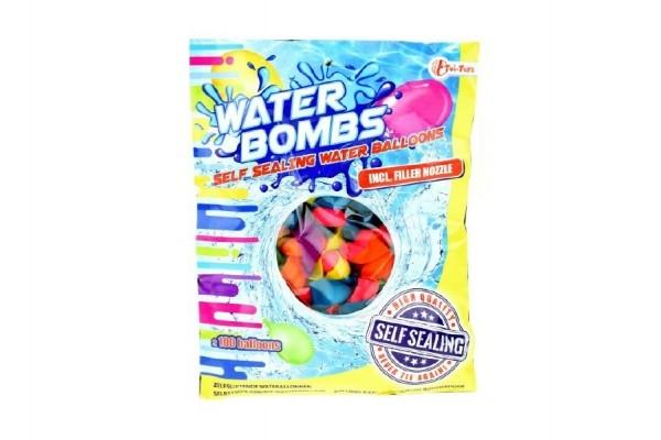 Teddies Vodné bomby +/- 100ks sa samotesniacim uzáverom a nástavcom na kohútik v sáčku