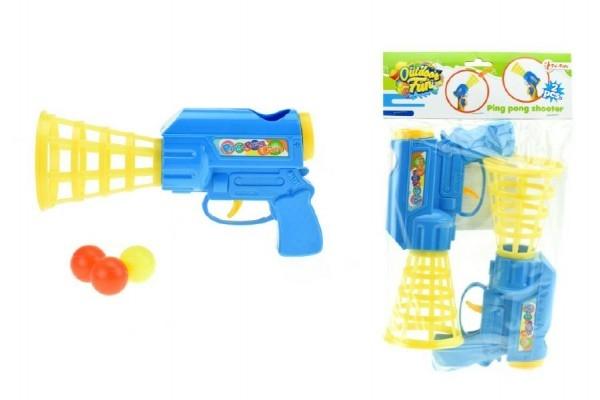 Catch ball pištole na pingpongové loptičky 2ks plast 24cm v sáčku