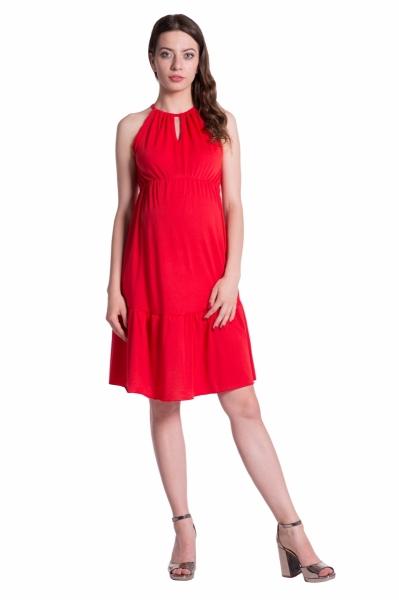 Letné tehotenské šaty na ramienkach - červené