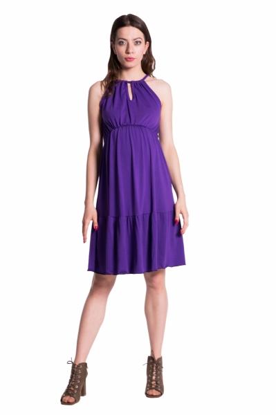 Letné tehotenské šaty na ramienkach - fialové