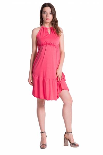 Letné tehotenské šaty na ramienkach - korálové
