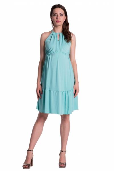 Letné tehotenské šaty na ramienkach - mätová