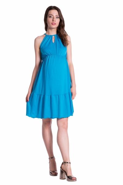 Letné tehotenské šaty na ramienkach -modré