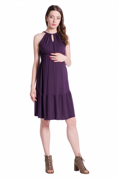 Letné tehotenské šaty na ramienkach - švestkové