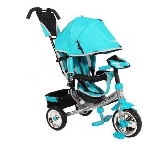 Detská trojkolka Lux Trike s vodiacou tyčou a ľad svetlami - modrá/tyrkysová