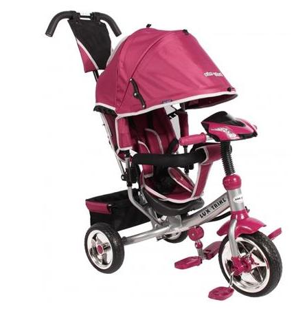 Detská trojkolka Lux Trike s vodiacou tyčou a ľad svetlami - ružová
