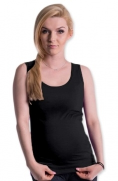 Tehotenské, dojčiace tielko s odnímateľnými ramienkami - čierne