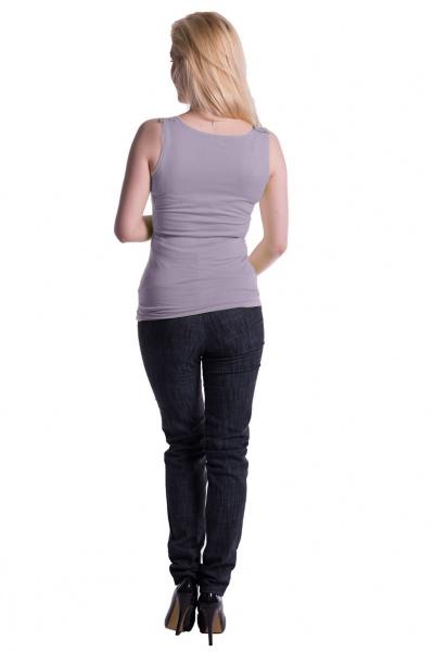 Tehotenské, dojčiace tielko s odnímateľnými ramienkami - šedý melírek