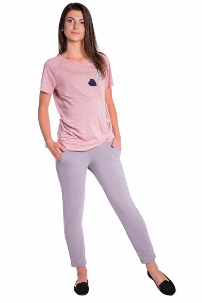 Be MaaMaa Tehotenské 3/4 nohavice s odpárateľným pásom -  šedé, vel´. XL