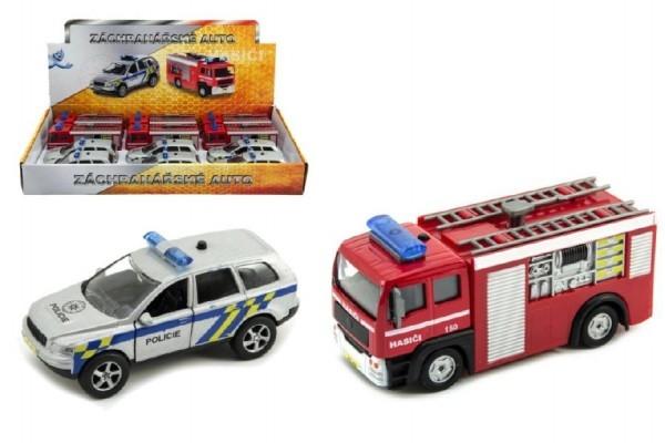 Záchranárske auto polícia / hasiči kov 11cm na spätný chod na batérie so svetlom a zvukom.