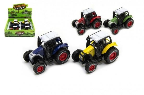 Teddies Traktor kov / plast 9cm na spätný chod asst 4 farby 6ks v boxe.