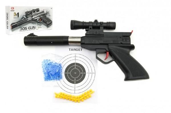 Teddies Pištoľ plast 30cm na mäkké a vodné guľôčky s priemerom 6mm v krabici