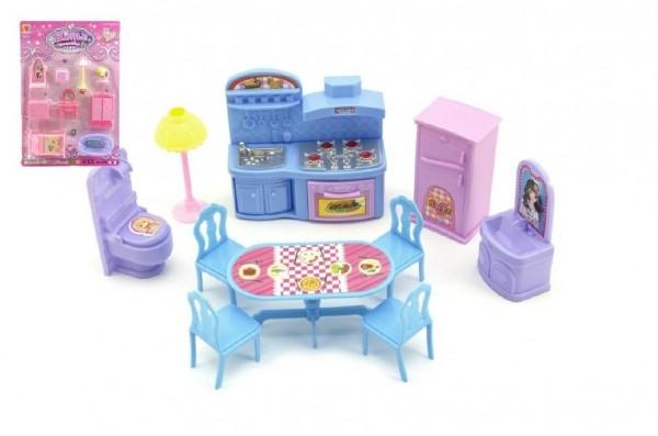 Teddies Nábytok pre bábiky plast asst 3 farby na karte.