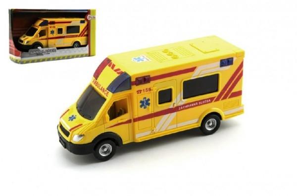 Teddies Auto ambulancie záchranári plast 18cm na zotrvačník český dizajn v krabičke
