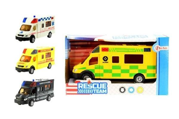 Auto záchranárske plast 18cm asst 3 druhy na zotrvačník v krabičke.
