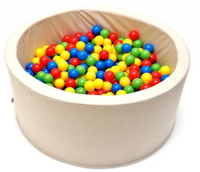 NELLYS Bazén pre deti 90x40cm kruhový tvar + 200 balónikov - béžový, Ce19