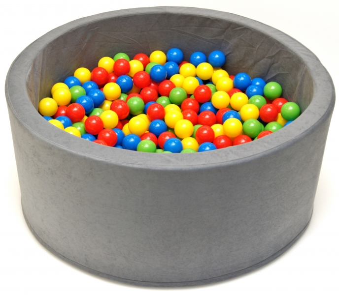 NELLYS Bazén pre deti 90x40cm kruhový tvar + 200 balónikov - sivý, Ce19