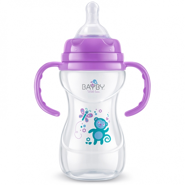BAYBY Dojčenská fľaša s úchytmi - Opička