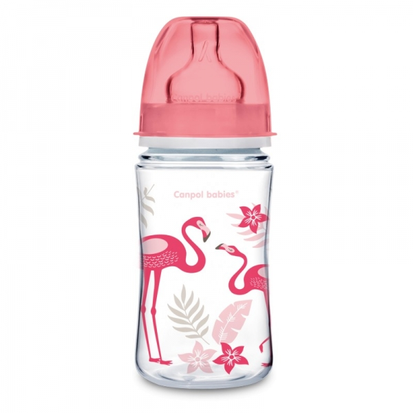 Canpol babies Antikoliková fľaštička 240 ml Jungle - Plameniaky