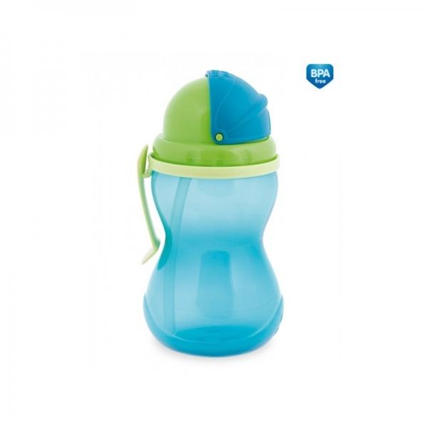 Canpol babies Športová fľaša sa slamkou 370 ml - tyrkysová