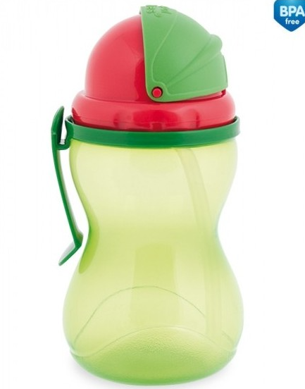 Športová fľaša sa slamkou 370 ml - zelená