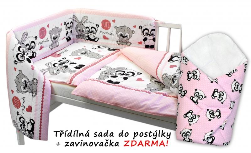 3-dielna sada mantinel s obliečkami + zavinovačka zadarmo, Cute Animals - ružová, 120x90 cm