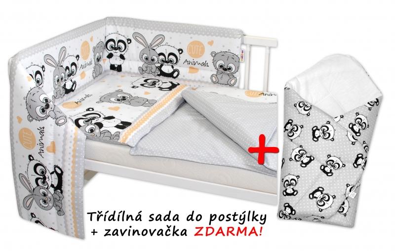 3-dielna sada mantinel s obliečkami + zavinovačka zadarmo - sivá, 120x90 cm