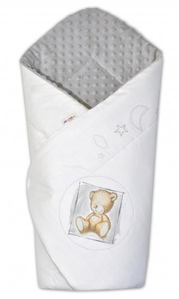 Baby Nellys Zavinovačka, 75x75cm, bavlnená s Minky by Teddy - biela, sv. sivá