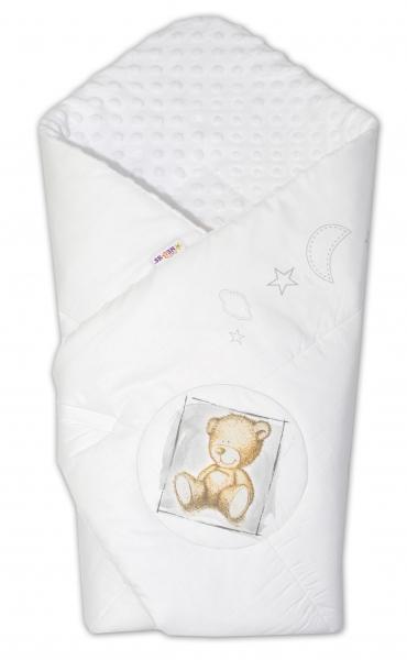 Baby Nellys Zavinovačka, 75x75cm, bavlnená s Minky by Teddy - biela, biela