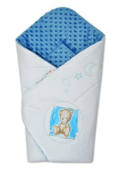 Baby Nellys Zavinovačka, 75x75cm, bavlnená s Minky by Teddy - sv. modrá, modrá