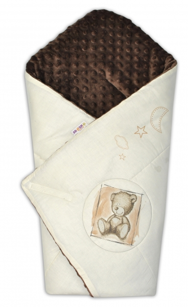 Zavinovačka, 75x75cm, bavlnená s Minky by Teddy - piesková, tm. hnedá