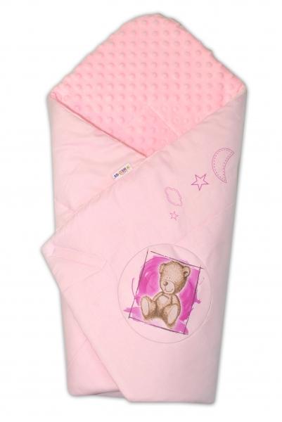 Zavinovačka, 75x75cm, bavlnená s Minky by Teddy - sv. ružová, sv. růžová