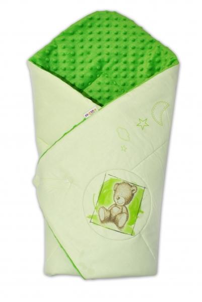Baby Nellys Zavinovačka, 75x75cm, bavlnená s Minky by Teddy - sv. lzelená, tm. zelená