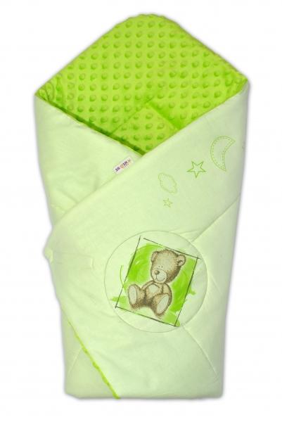 Baby Nellys Zavinovačka, 75x75cm, bavlnená s Minky by Teddy - sv. lzelená, sv. zelená
