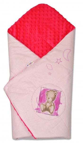 Baby Nellys Zavinovačka, 75x75cm, bavlnená s Minky by Teddy - sv. ružová