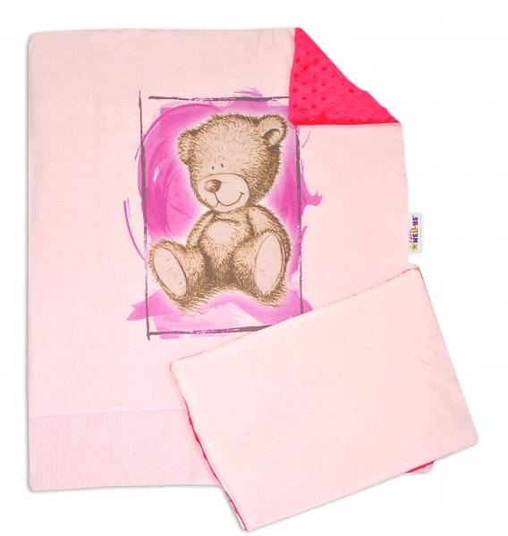 2-dielna sada do kočíka s Minky by Teddy - sv. ružová, malina