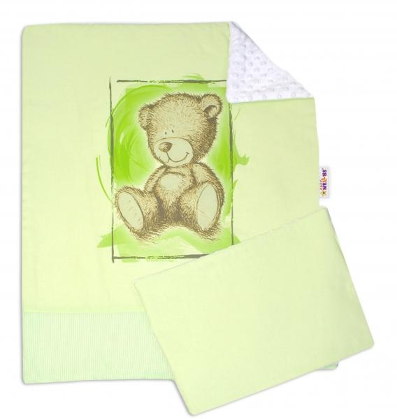 2-dielna sada do kočíka s Minky by Teddy - sv. zelená, bílá