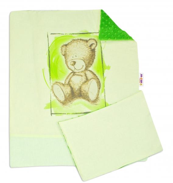 2-dielna sada do kočíka s Minky by Teddy - sv. zelená, tm. zelená