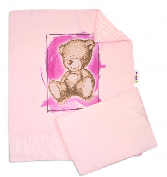 Baby Nellys 2-dielna sada do kočíka s Minky by Teddy - sv. ružová, sv. růžová