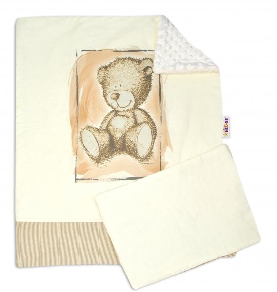 Baby Nellys 2-dielna sada do kočíka s Minky by Teddy - piesková, smotanová