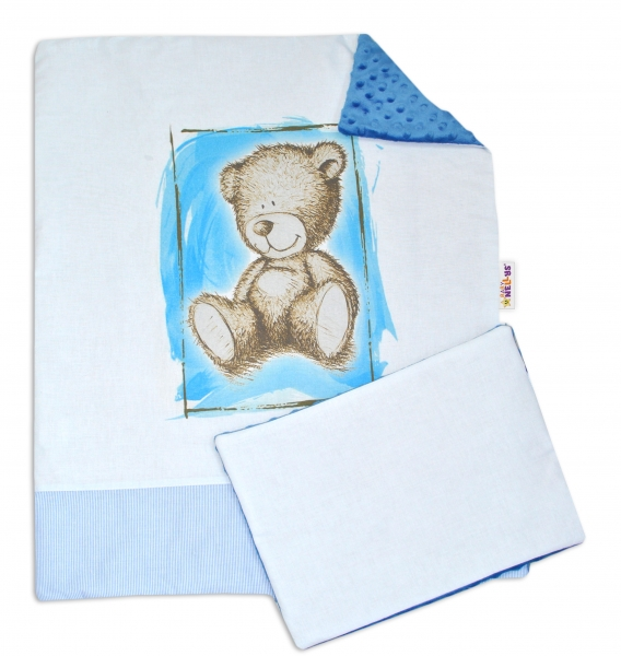Baby Nellys 2-dielna sada do kočíka s Minky by Teddy - sv. modrá, modrá