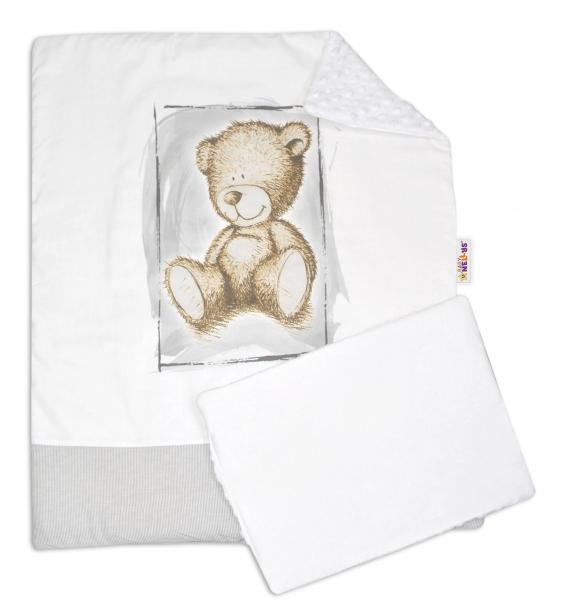 Baby Nellys 2-dielna sada do kočíka s Minky by Teddy - biela s šedou, biela