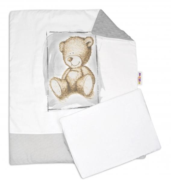 Baby Nellys 2-dielna sada do kočíka s Minky by Teddy - biela s šedou, sv. šedá