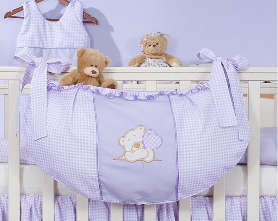 Luxusný vreckár na hračky - Medvedík so srdiečkom fialový Kr.