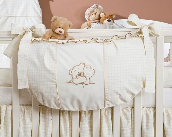 Luxusný vreckár na hračky - Medvedík so srdiečkom ecru Kr.
