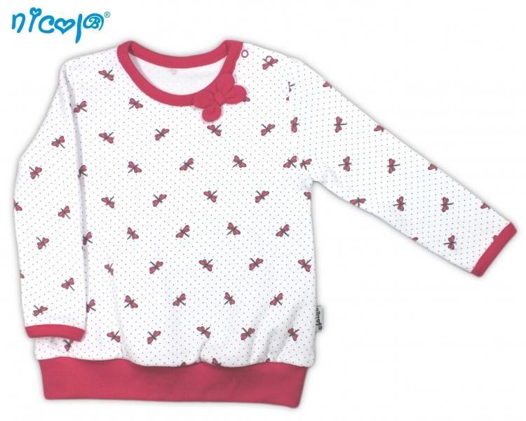Bavlnené tričko Vážka - dlhý rukáv - biele, roz. 98-98 (24-36m)