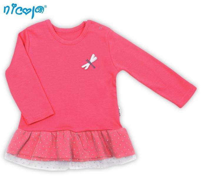 Bavlnené tričko Vážka - dlhý rukáv - červené, roz. 80-80 (9-12m)