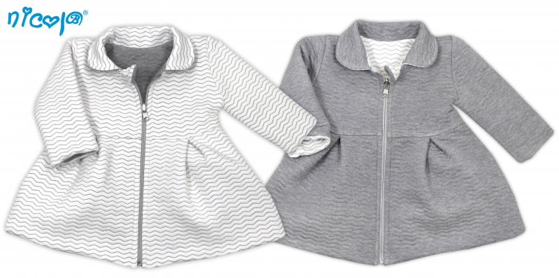 663955e2ebf2 Obojstranný kabátik Vážka - sivý   biely
