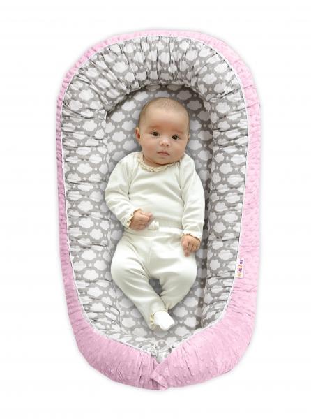 Baby Nellys Obojstranné hniezdočko pre bábätko Minky - Mráčik v šedé/růžová